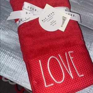 "RAE DUNN ""Love"" Valentines Hand Towels"